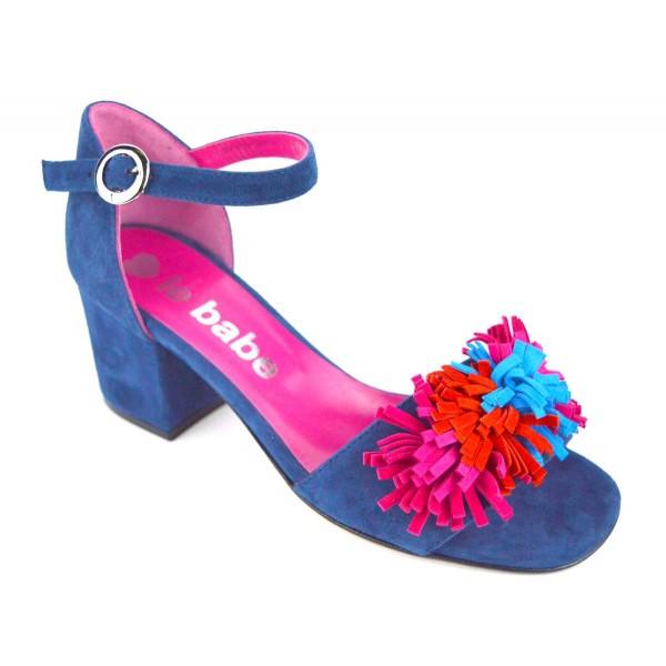 Le babe Sandali Ciuffo Blu + multicolore Fondo cuoio