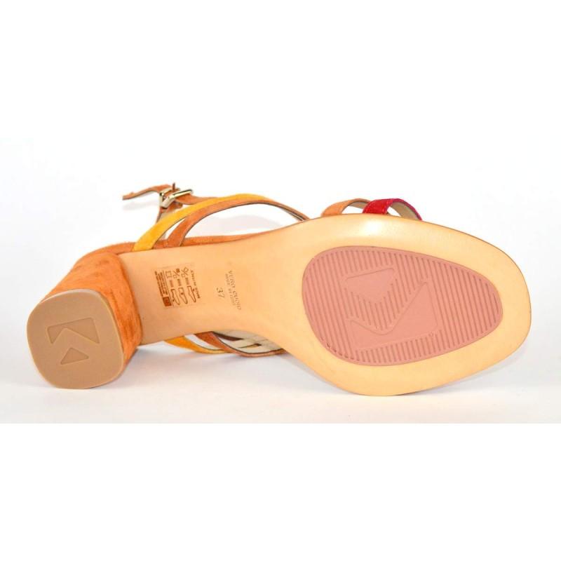 Altariva Sandali Multicolore Cuoio + arancio Fondo cuoio