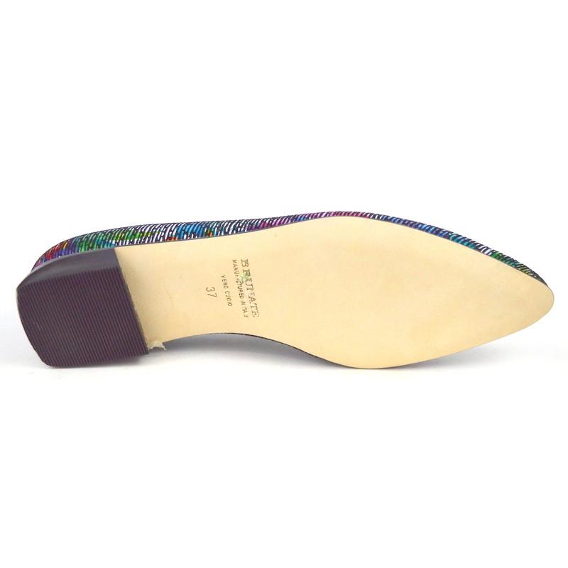 Brunate Pantofola Multicolore Fondo cuoio