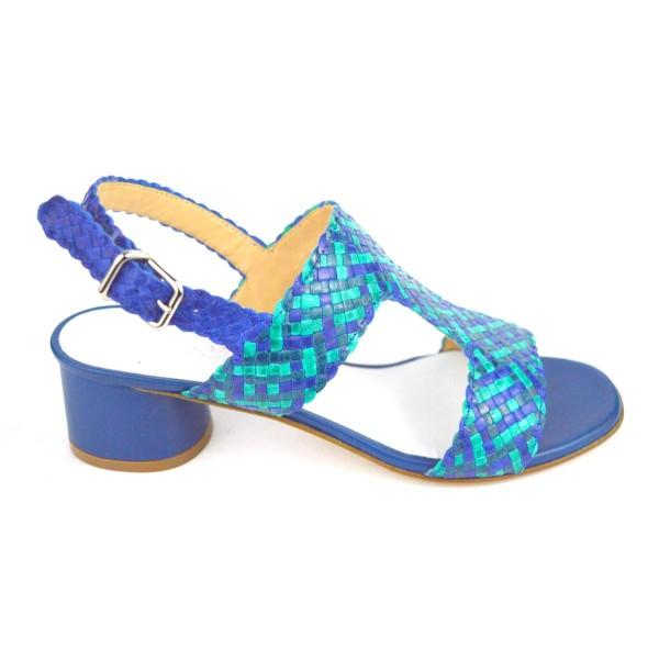 Altariva Sandali Intrecciato Blu Fondo cuoio