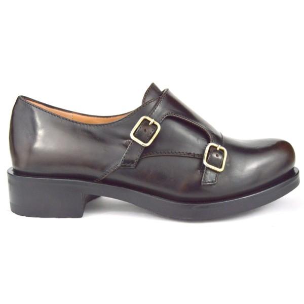 Altariva Pantofola Due fibbie Marrone Fondo gomma