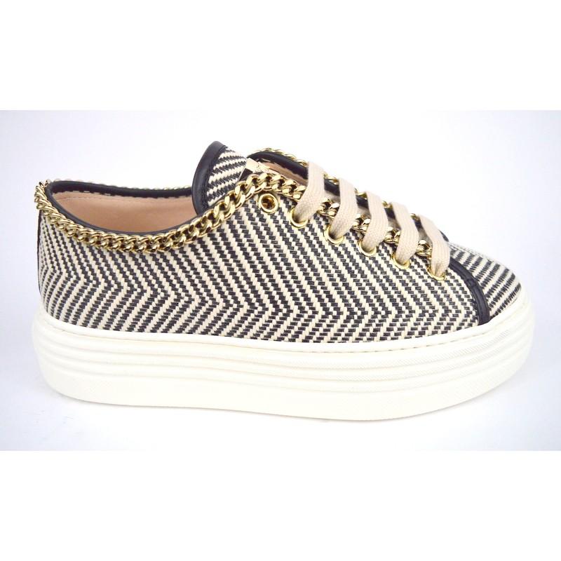 Stokton Sneakers Catena Righe Nero Fondo gomma