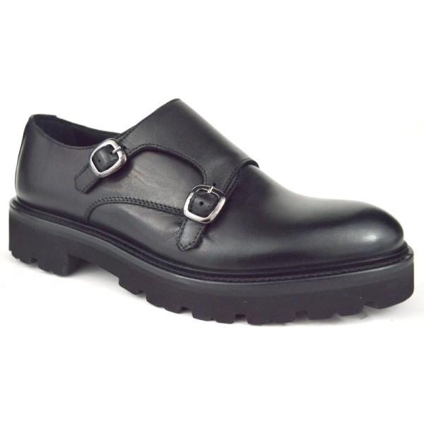Altariva Pantofola Due fibbie Nero Gomma