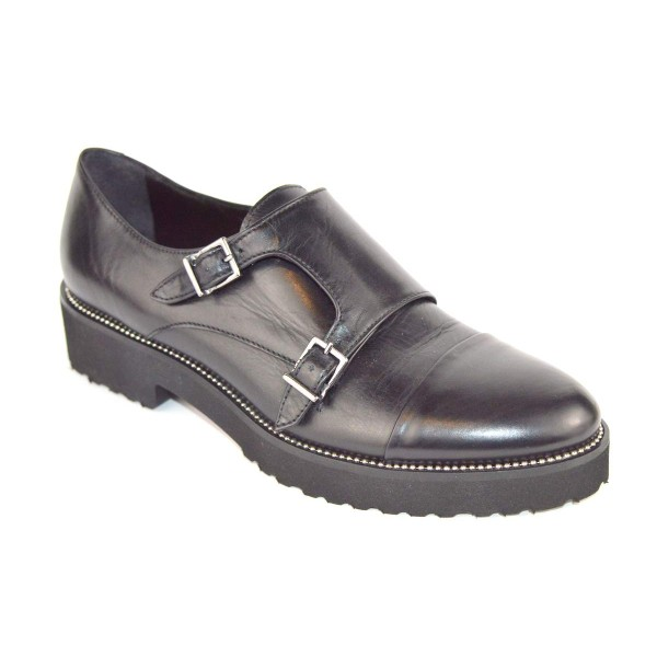 Altariva Pantofola Due fibbie Nero Fondo gomma