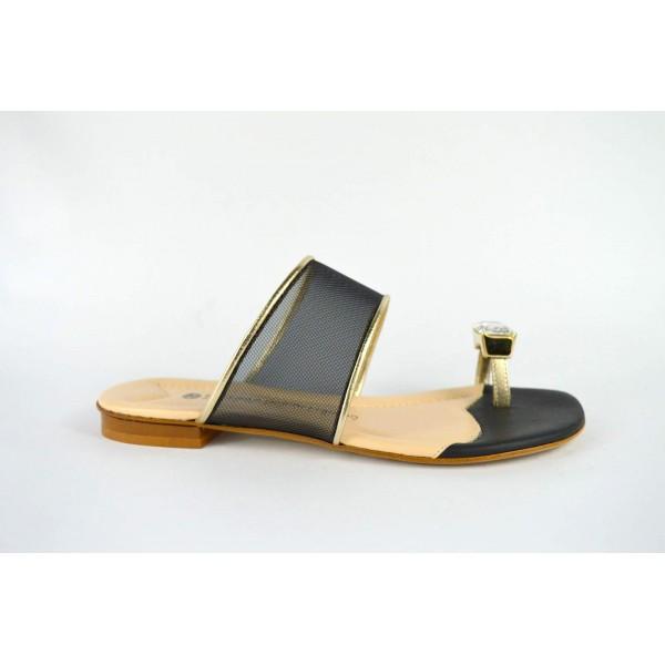 Bottega dell'artigiano Scarpa Infradito Strass Nero + oro Fondo cuoio