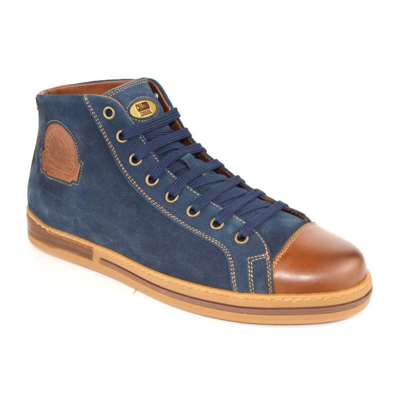 Galizio torresi Sneakers Alto Blu + cuoio Fondo gomma