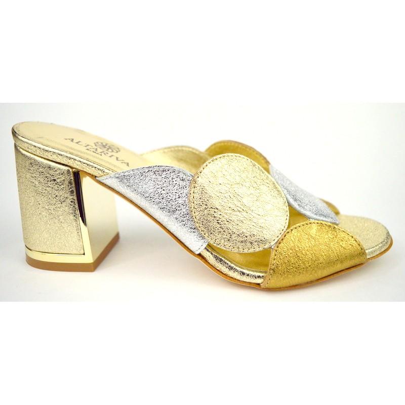 Altariva Pianella Cerchi Argento+oro+platino Fondo cuoio
