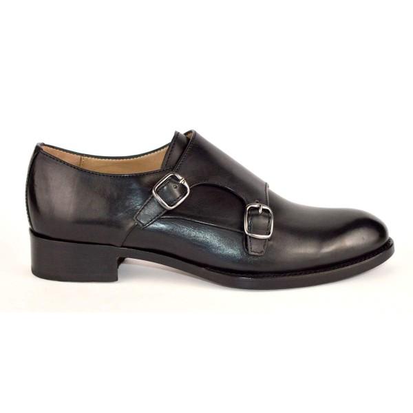 Altariva Pantofola Due fibbie Nero Fondo cuoio e gomma