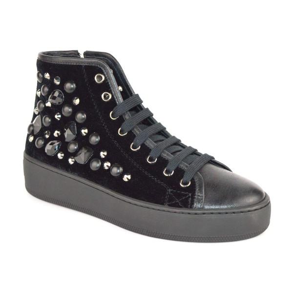 Stokton Sneakers Alta Strass Nero Fondo gomma