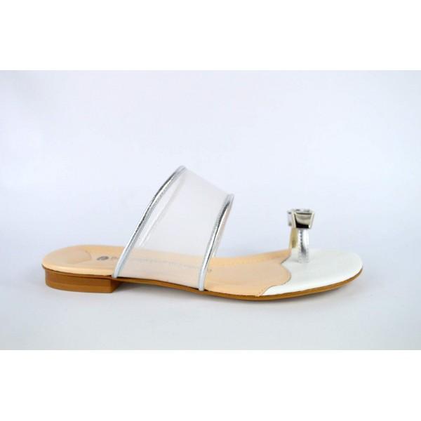 Bottega dell'artigiano Scarpa Infradito Strass Argento+bianco Fondo cuoio