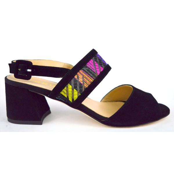 Brunate Sandali Due fasce Nero + multicolore Fondo cuoio
