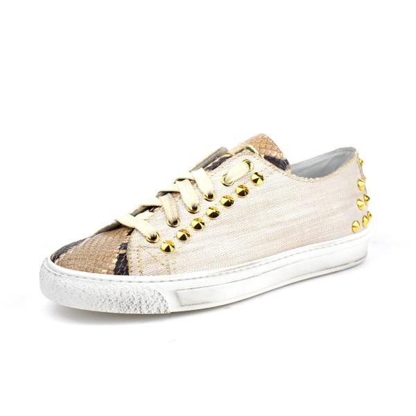 Stokton Sneakers Stampato Borchie Bianco + nero Fondo gomma ... 8829317d32d