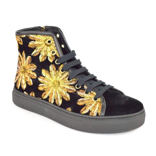Stokton Sneakers Alta Ricamo Nero + oro Fondo gomma