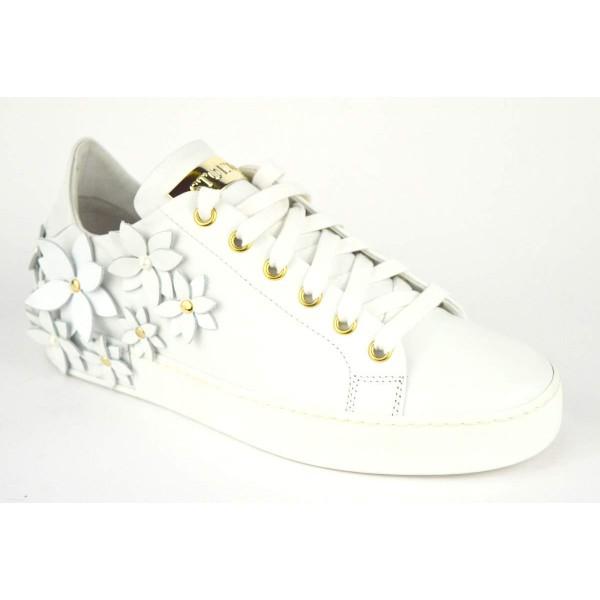 Stokton Sneakers Fiori Bianco Fondo gomma