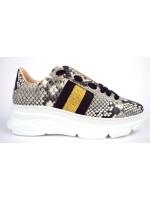 Stokton Sneakers Stampato pitone Bianco + nero Fondo gomma