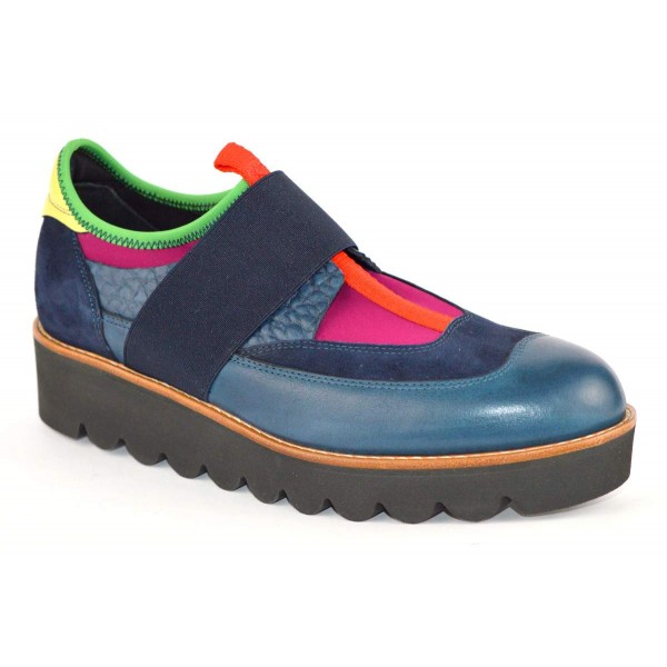 Truman's Sneakers Elastici Pantofola Blu + fuxia Fondo gomma