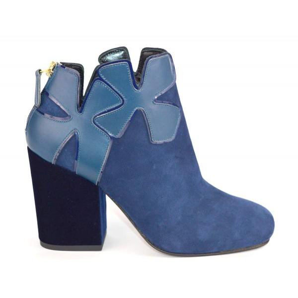Lella baldi Polacchino Fiore Blu Fondo cuoio e gomma