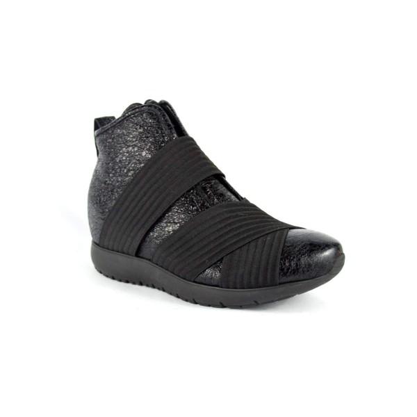 Andia fora Sneakers Tre elastici Nero Fondo gomma