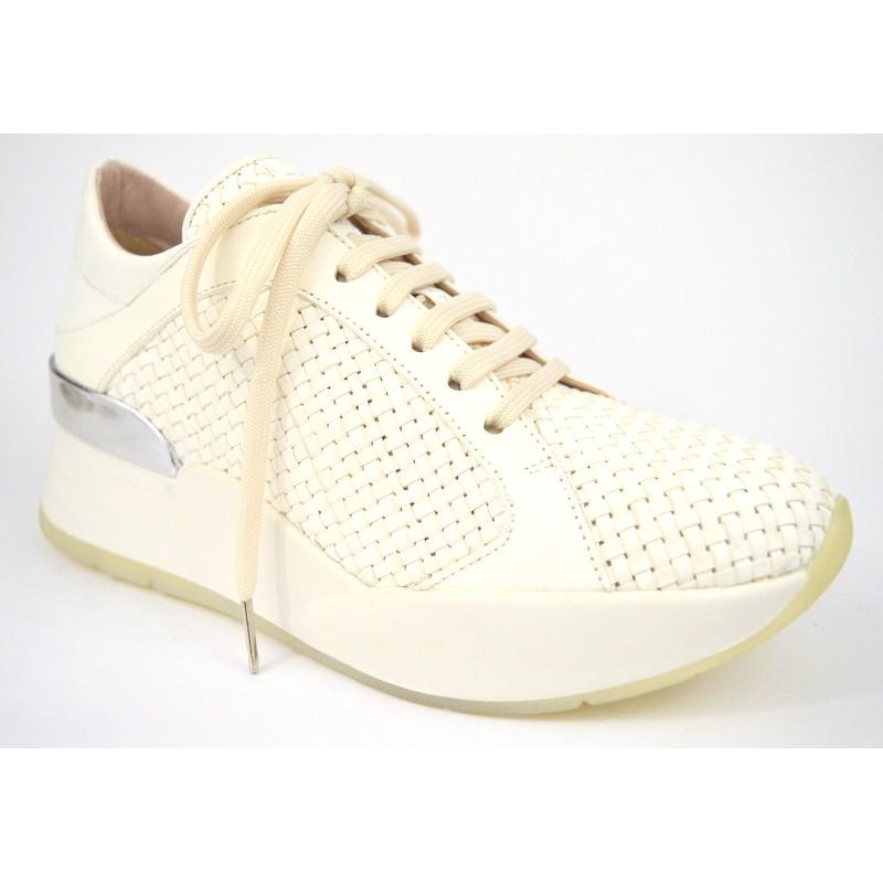 Pons quintana Sneakers Intrecciata Bianco Fondo gomma