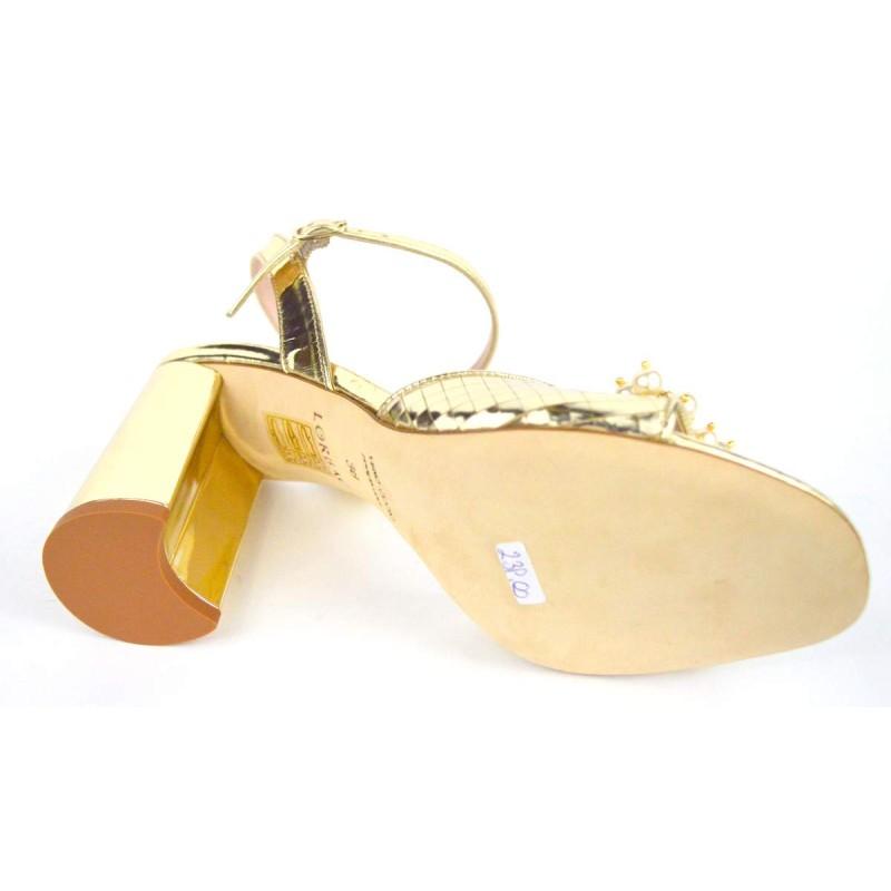 Lorbac Sandali Lame' Perle Oro Fondo cuoio