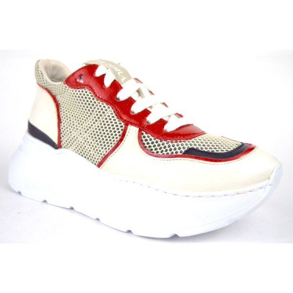 Andia fora Sneakers Bianco + rosso Fondo gomma