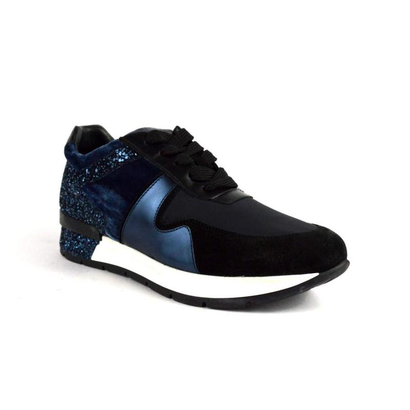 Janet sport Sneakers Nero+blu Fondo gomma
