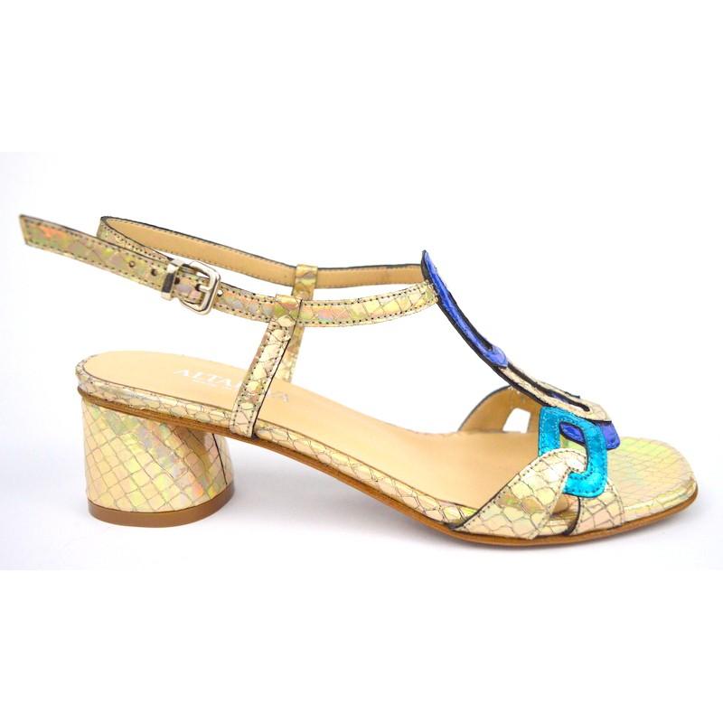 Legazzelle Sandali Anelli Blu + bronzo Fondo cuoio