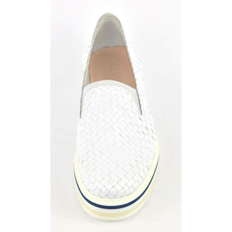 Altariva Pantofola Intrecciata Bianco Fondo gomma