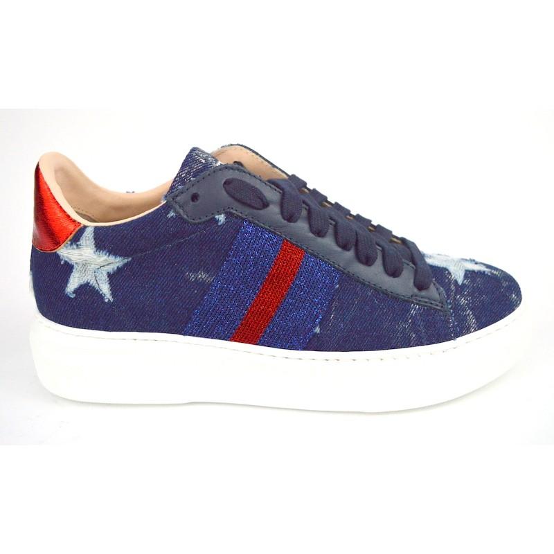 Stokton Sneakers Jeans Blu + bianco Fondo gomma