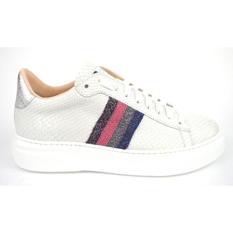 Stokton Sneakers Strisce Laterali Bianco Fondo gomma