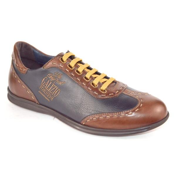 Galizio torresi Sneakers Impunturata Blu + marrone Fondo gomma