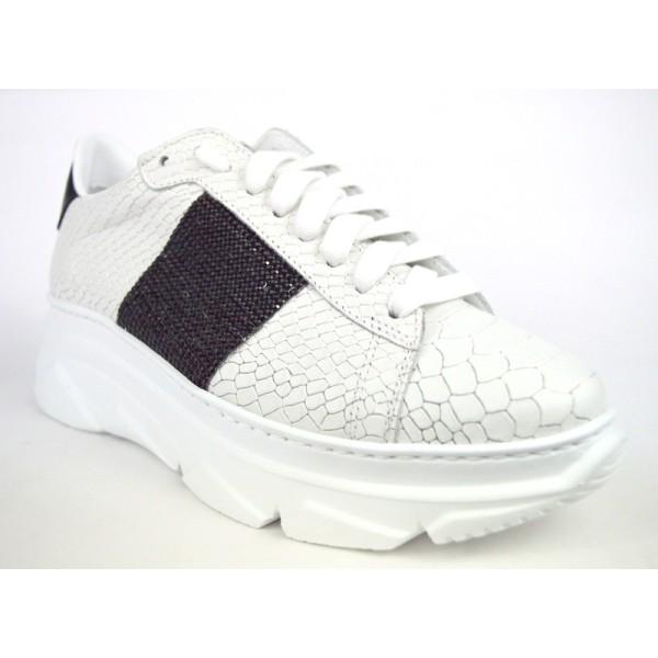 Stokton Sneakers Bianco + nero Fondo gomma